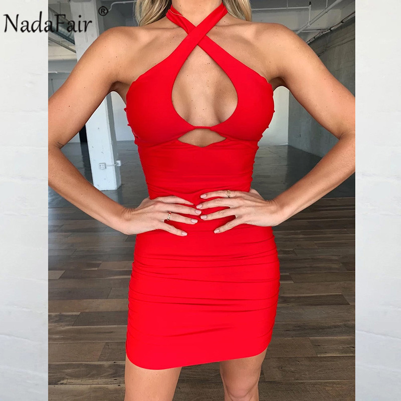 Nadafair Backless Hollow Out Women Club Sexy Dress Vestido Ruched Party Halter Mini White Black Red Bandage Bodycon Summer Dress