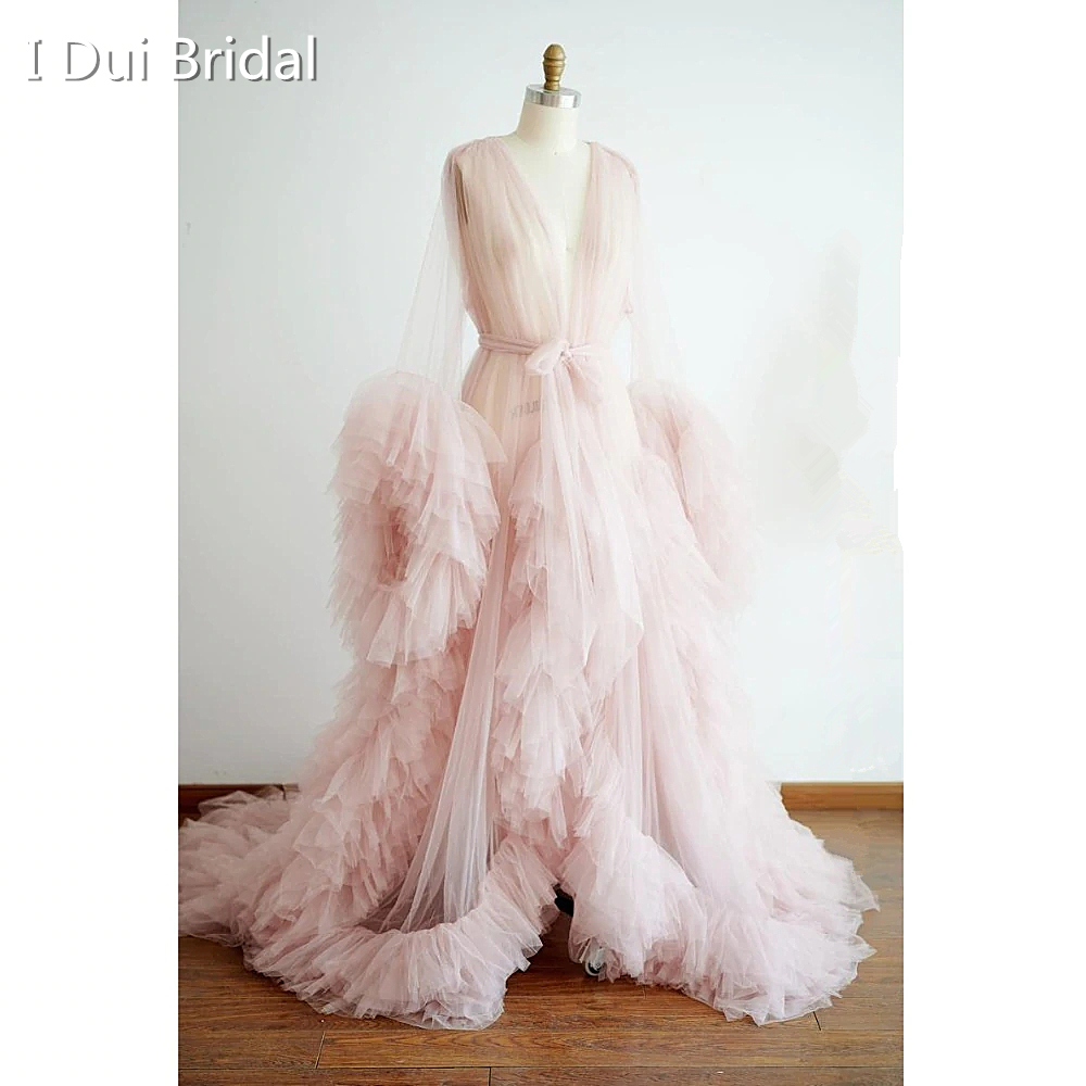 Tulle Dressing Gown Bride Robe Hollywood Robe Performance Gown Chic Outfit Drag Queen Materinity Photography Dress