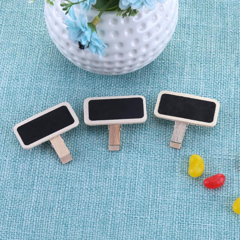 50Pcs/Set Unique Note Message Clips Mini Natural Blackboard Clip For Photo Clothespin Craft Decoration Pegs