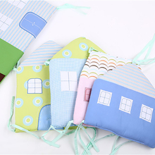 6Pcs/Set Baby Cartoon Bed Bumper Crib For Newborns Cotton Comfortable House Pattern Children Bed Protector Washable Bedding Set