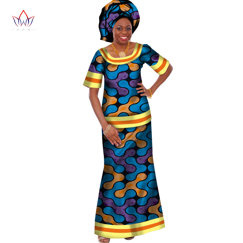 Traditional African Clothing For Women O-Neck Dresses Woman Party Night Dashiki Two Piece Short Sleeve Sets Plus Size WY410