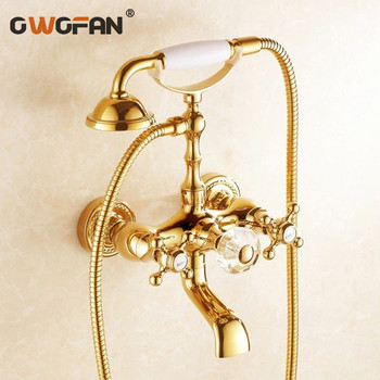 Shower Faucets Golden Bathroom Bathtub Faucet Brass Wall Mounted Telephone Style Shower Cabin Washing Machine Mixer Tap HJ-5018K