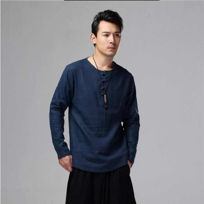 Men Linen Shirts long sleeve Chinese Style Traditional Kung Fu Tang Casual Social Irregular Shirt Comfortable Clothing SY0003