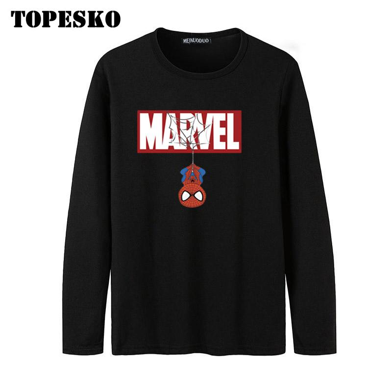 TOPESKO Marvel Spiderman Printed Mens Long Sleeve T-shirt Autumn Winter Streetwear Tops Halloween Gift