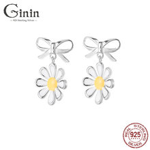 Ginin чистый 925 стерлингового серебра желтый галстук бабочка