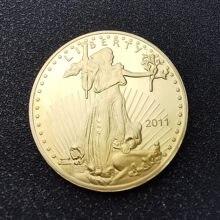 Estados unidos américa 2011 liberdade 1oz multa ouro réplica moeda dupla águia com lema em deus nós confiamos ouro chapeado moedas de metal