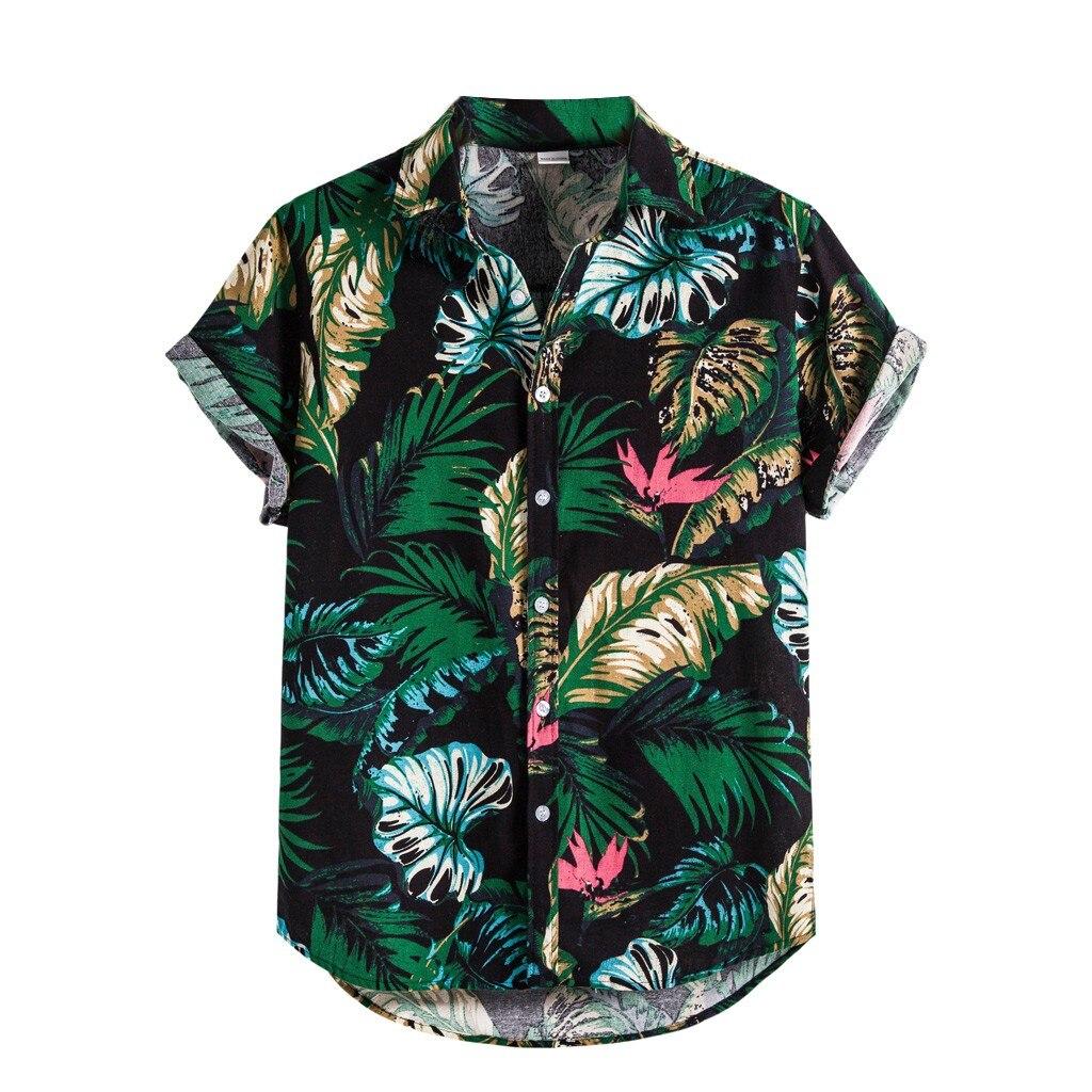Мужские рубашки Гавайская льняная рубашка с этническим принтом на пуговицах летняя рубашка с коротким рукавом Гавайская пляжная тонкая ру...