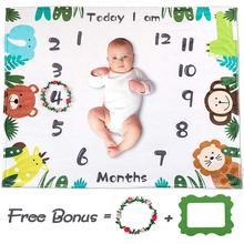 Soft wool baby month milestone blanket f