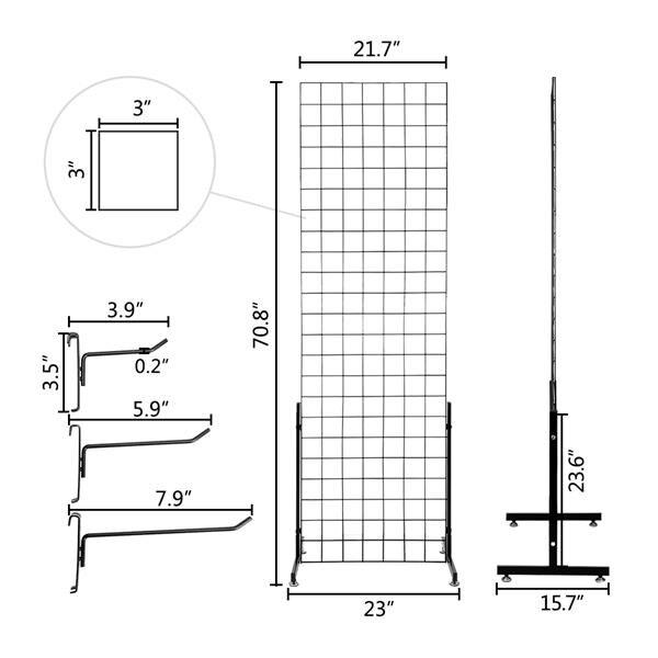 2pcs 5mm Grid Rack Wall Storage Shelf Iron Mesh Frame Multi function Wall Mounted Mesh Panel Wall Art Display Organizer - 4