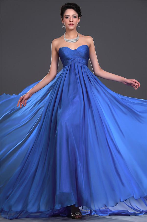 2020 New Custom Mad Blue Sweetheart Ruched Empire Evening Dress Formal Dresses Party Dresses Maternity Dress robe de soriee