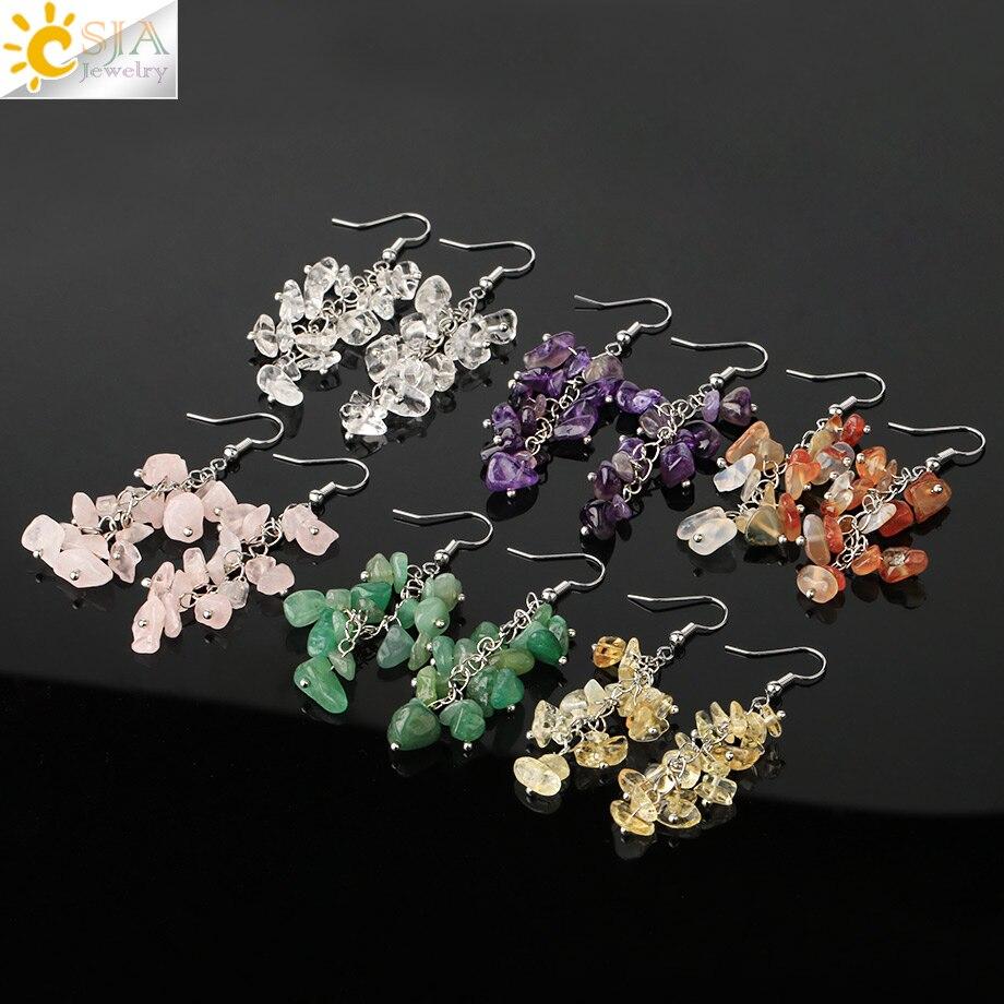 CSJA Natural Chipped Stone Earrings Drop Dangle 7 Chakra Irregular Bead Crystal Earrings for Women Fashion Handmade Jewelry G458