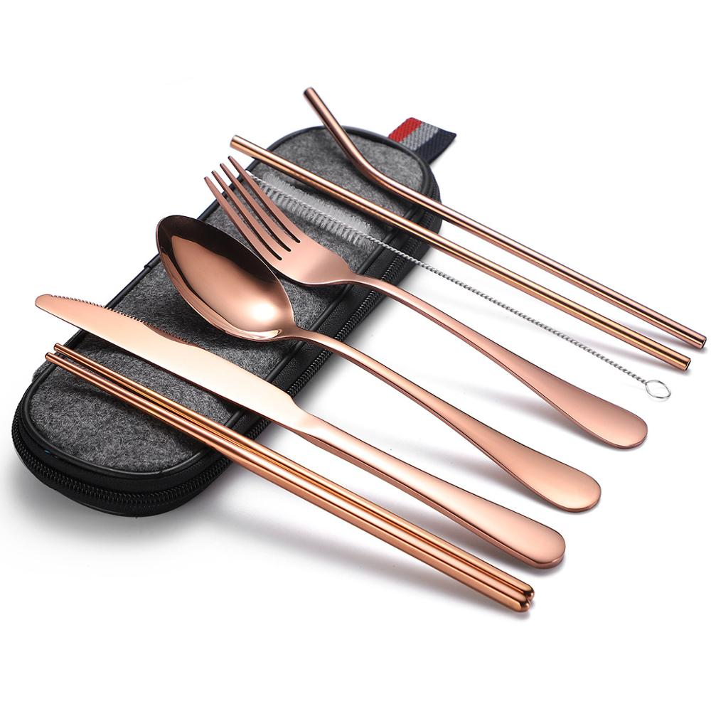 """Rose Gold"" 8pcs Cutlery Set Serving Set Stainless Steel Fork Spoon Chopstic Dinner Knife Straw Gift Box Dinnerware Flatware Set"
