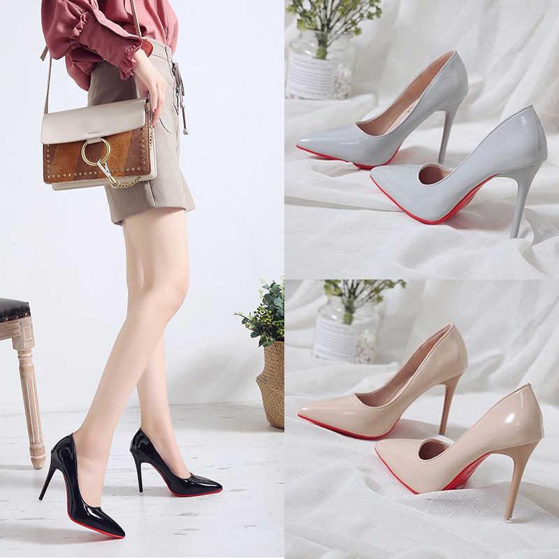 גבירותיי נעלי עקבים גבוהים פטנט עור קלאסי משאבות סקסי שמלת נשף חתונה נשים PU הבוהן מחודדת בז 'נעלי מכנסי אדומים
