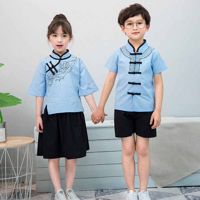 Kindergarten Suit Summer New Style Young STUDENT'S Business Attire CHILDREN'S Short-sleeved Clothes Nation Chinese Clothing Scho