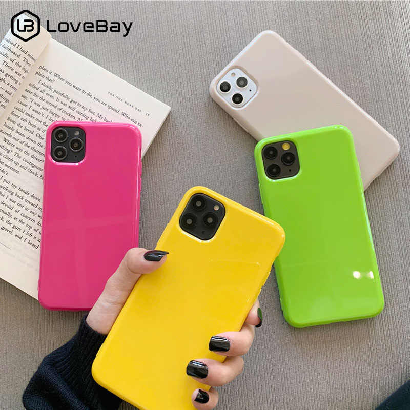 Lovebay Solid Permen Warna Case untuk iPhone 11 Pro Max 7 8 6 6 S Plus X XR X Max 11 Silikon Ponsel Case Lembut TPU Back Cover Coque