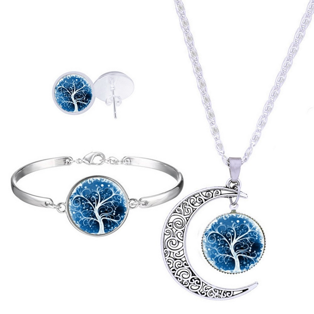 Tree Of Life Jewelry Universe Starry Women Fashion Necklace Jewelry Sets Stainless Steel Earrings Bangles Choker Threepiece Suit