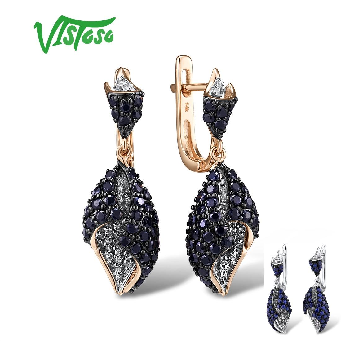VISTOSO Gold Earrings For Women Genuine 14K 585 Rose White Gold Sparkling Diamond Blue Sapphire Drop Earrings Fine Jewelry