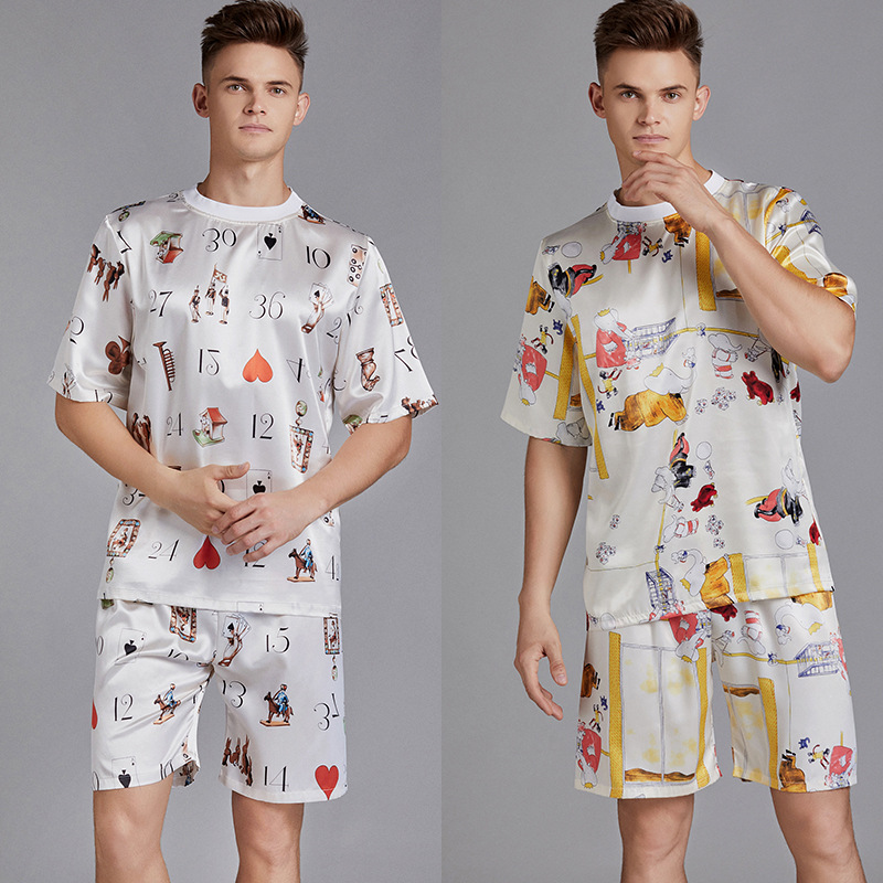 Summer Men Pyjama Set Print Satin Men Pajama Suit Short Sleeve Shorts Silk Pajama Man Sleepwear Spring Pajama Male Nightgown XXL