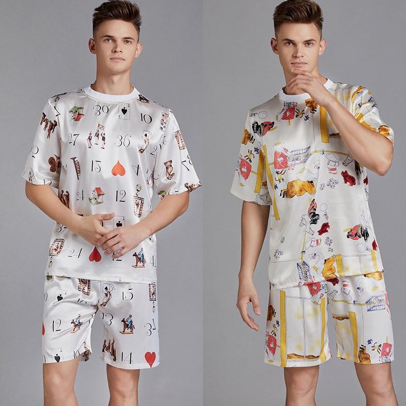 Summer Men Pyjama Set Print Satin Men Pajama Suit Short Sleeve Shorts Silk Pajama Man Sleepwear Spring Pajama Male Nightgown XXL