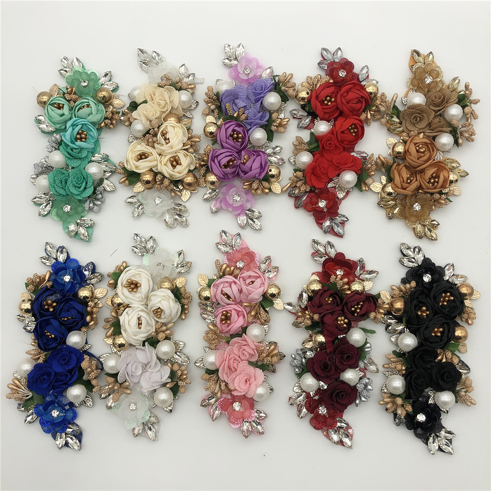 New arrival handmade 3d flower applique embroidery rhinestone flower patch for evening dress