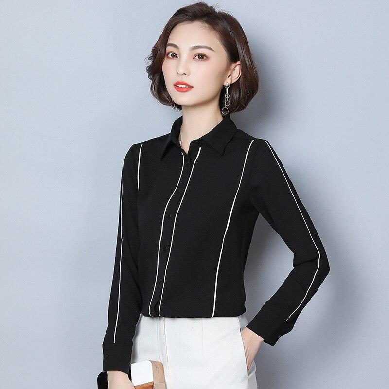 Chemise Femme Manches Longues 2019 Nouveau Style Noir Et Blanc avec Motif L'occupation Lo Convention Chemise Grande Taille top en mousseline Base