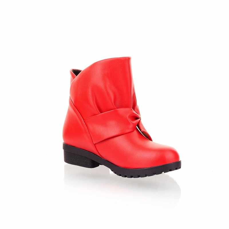 Outono couro do plutônio das mulheres botas kawaii bowknot meninas tornozelo botas tamanho grande 4-13 bloco grosso calcanhar conforto moda sapatos femininos