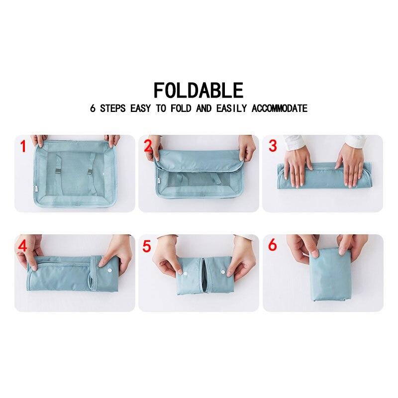 Nylon Foldable Men Women Travel Bag Organizer Hand Luggage Large Capacity Travel Bag Waterproof Packing Cubes Double Zip