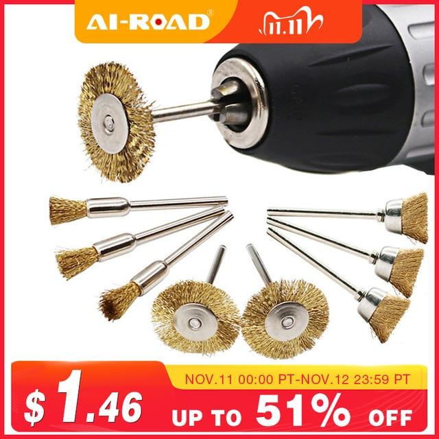 9 шт./лот латунная щетка, щетки для проволочного колеса, шлифовальный станок, вращающийся электрический инструмент для гравера
