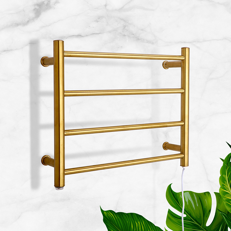 Electric Heated Towel Rail Sanitary Ware Drying Rack Stainless Steel Bathroom Towel Rack Storage Shelf 9018 Gold