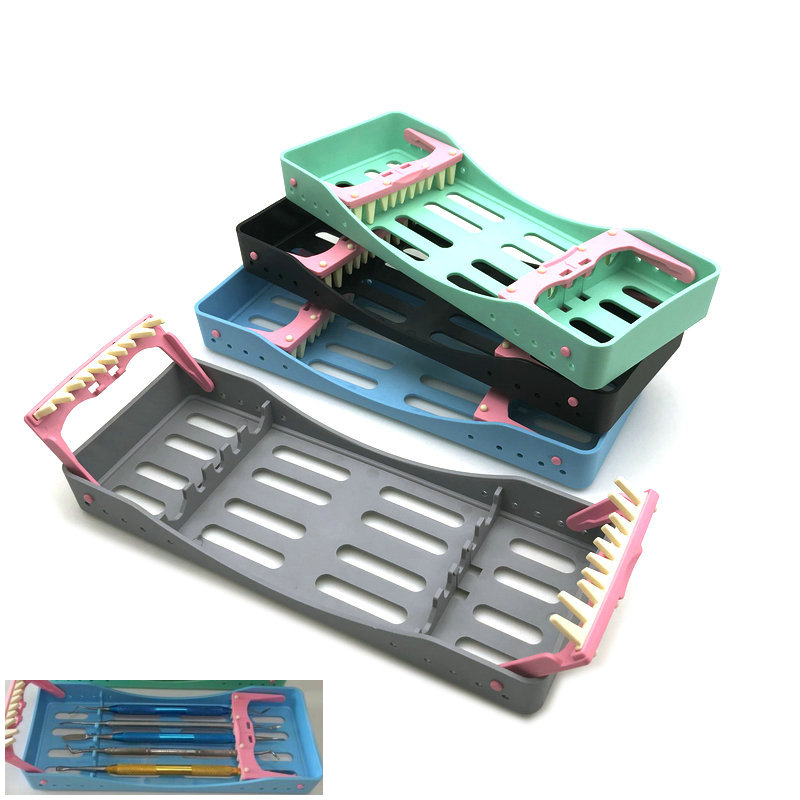 New Dental Sterilization Box With 5 Holders Tips Handles Instrument Autoclavable