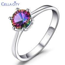 Cellacity anel de prata esterlina 925, genuíno, arco-íris, místico, topaz, anel de prata para mulheres, anel de noivado, prata 925, pedras preciosas, joias