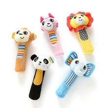 0-3 Years Old Baby Rattle Cute Animal Series BB Stick Early Education Puzzle Newborn Toy Hand Rocker Child Boy Girl Plush Toy(China)