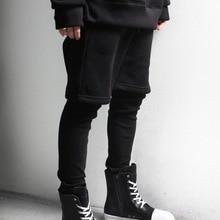 New layered fake two piece Leggings casual pants slim fit yuppie Style Men's pants men's version