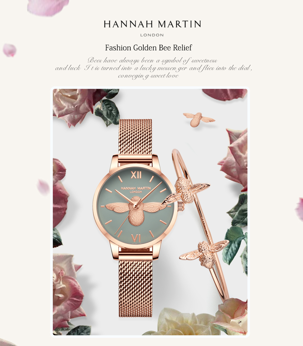 Rose Gold Bee Personality Design Ladies Watch 9