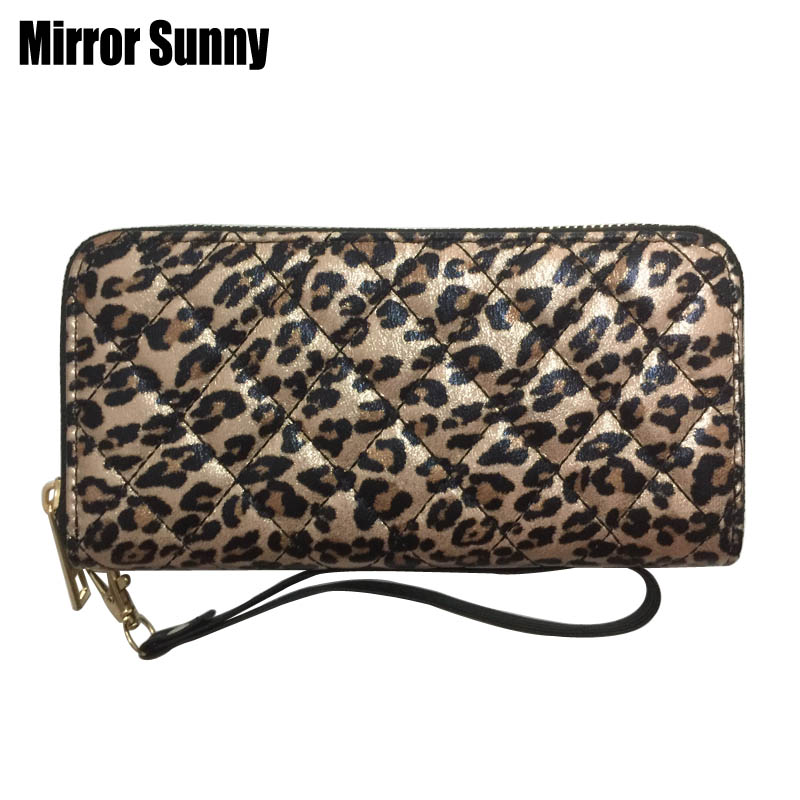 New Women Leather Wallets Female Long Design Leopard Purses Female Phone Coin Card Holders Big Capacity Quilting Clutch Carteira