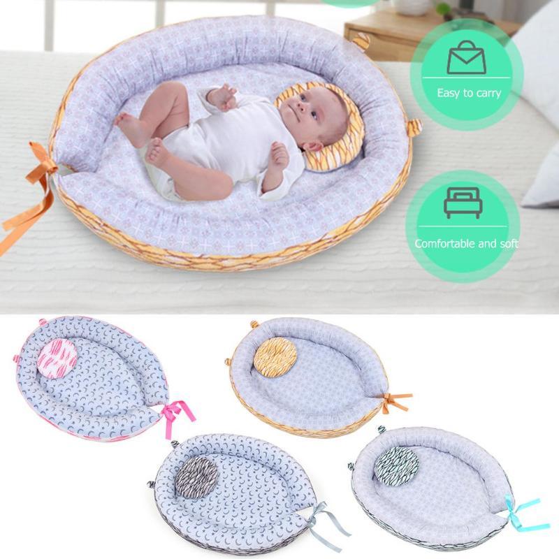 Newborn Baby Sleep Nest Bed Removable Newborn Protector Cushion Cotton Infant Crib Cradle Baby Cot Stroller Mat Co-Sleeping Crib