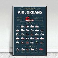 Кроссовки Майкл Джордан обувь мода AJ история Air Max на холсте плакат настенная живопись Печать украшение дома для гостиной