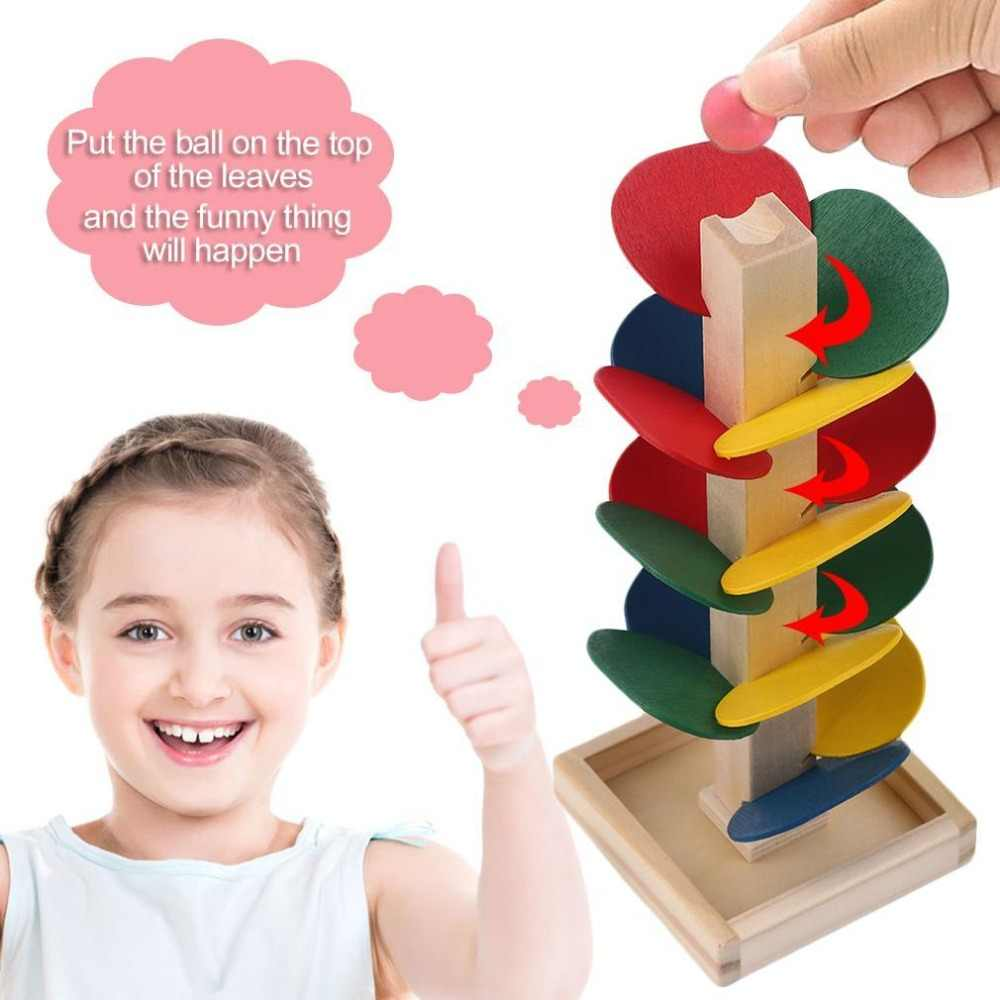 Children Montessori Learnning DIY Wooden Toys Colorful Building Blocks Tree Marble Ball Run Track Toys Kids Wood Game Toy J75