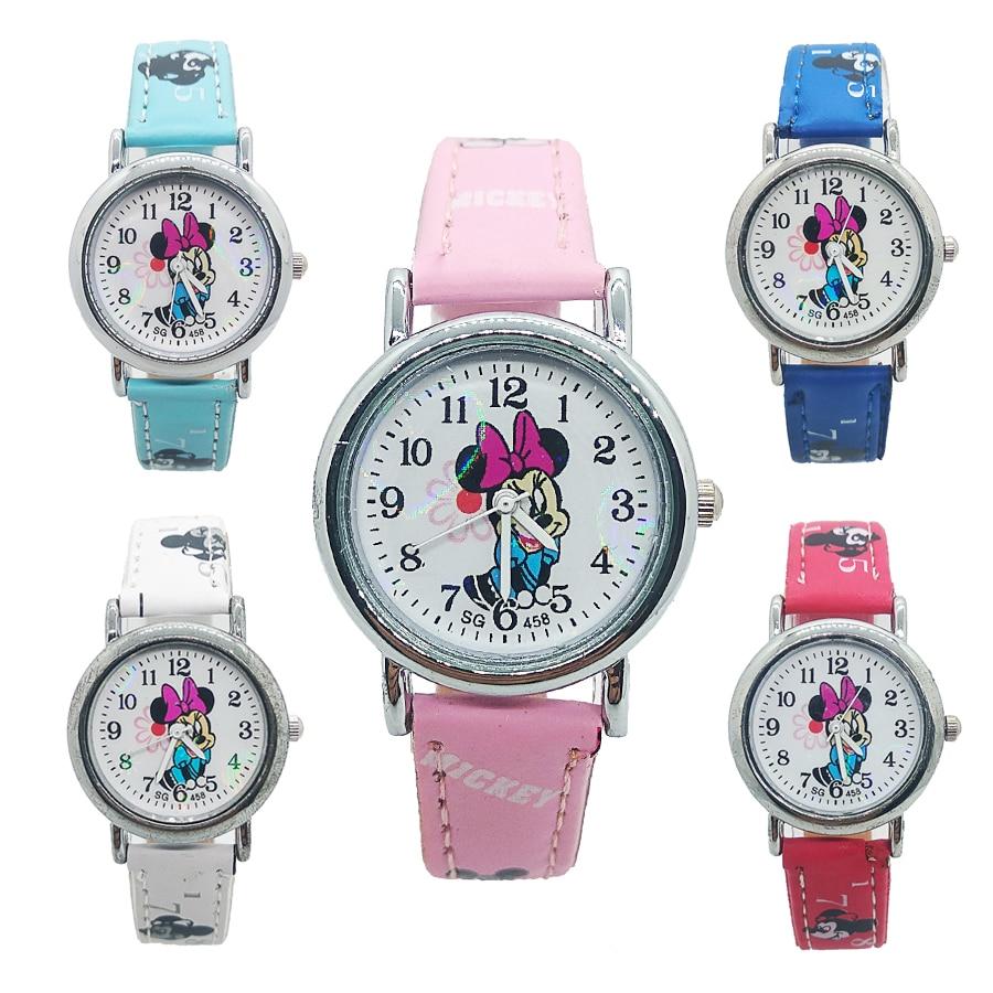 High Quality Mickey Watch Children Leather Digital Watches Kids Girls Boys Birthday Gift Child Waterproof Quartz Watches Clock