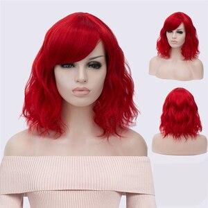 Image 4 - MSIWIGS krótkie Cosplay naturalne fale peruki dla kobiet czerwona peruka z bocznym Bangs zielone włosy syntetyczne peruka żaroodporne