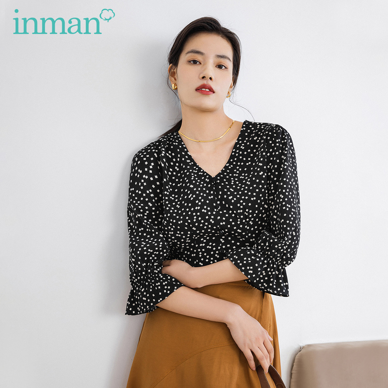 INMAN Blouse 2020 Spring New Arrival Office Style Artsy V Collar Fashion Elegant Loose Style Black Dot Women Blouse