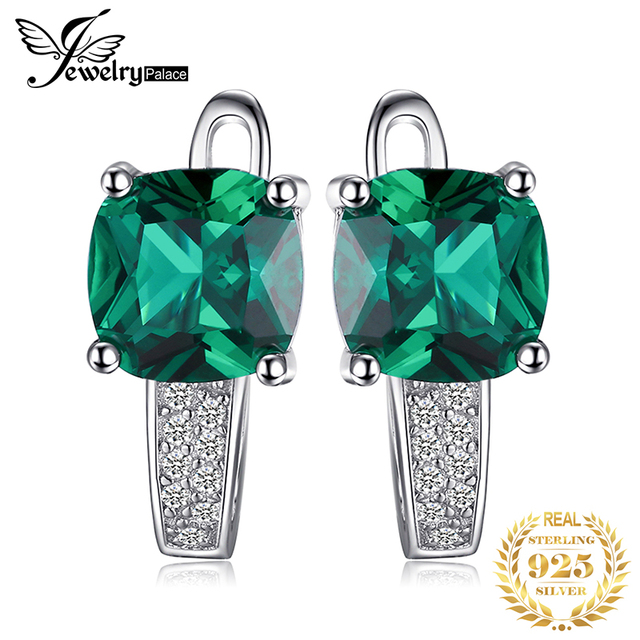 JewelryPalace Cushion 3.1ct Created Green Emerald Clip Earrings 100% Real 925 Sterling Silver Charms Fine Jewelry For Women