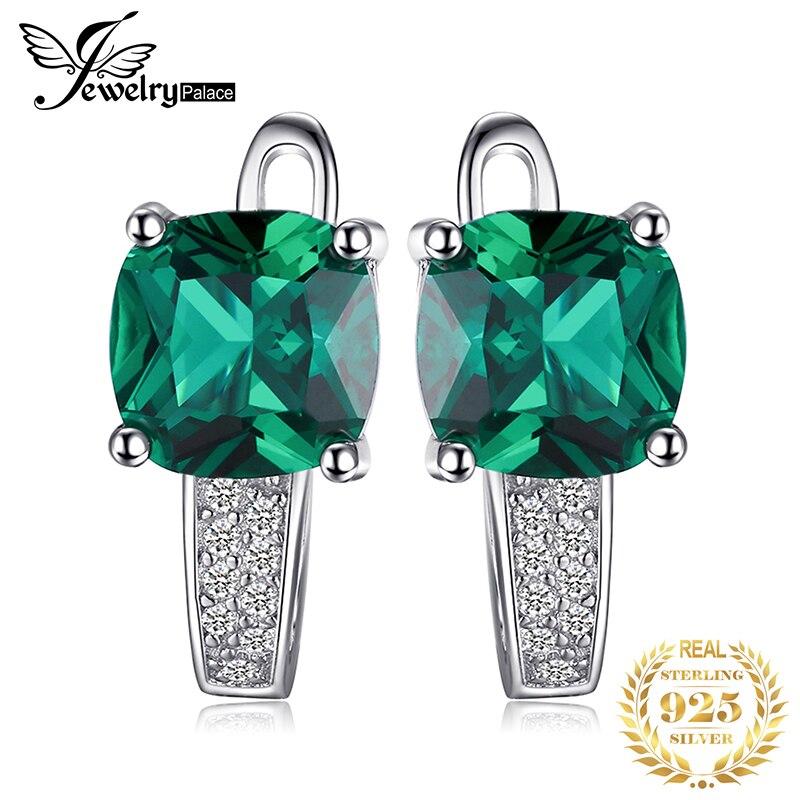 Sterling Silver Leaf Earrings Green Earrings Emerald Green Solid Silver Created Emerald Emerald Earrings Pure Silver Flower Earrings