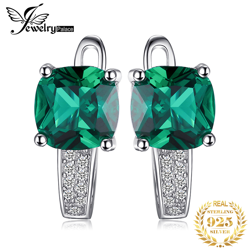 JewelryPalace Created Nano Emerald Clip Earrings 925 Sterling Silver Earrings For Women Gemstones Korean Earings Fashion Jewelry