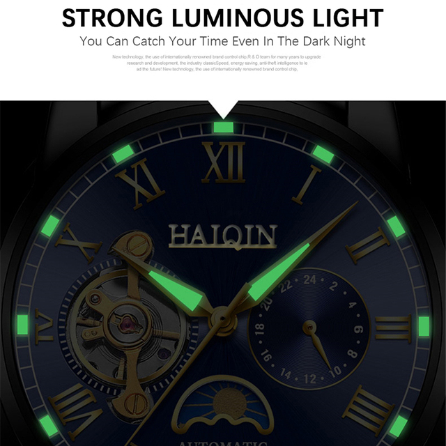 2019 nova marca de luxo relógio de aço masculino relógio de negócios relógio lua reloj hombre 3