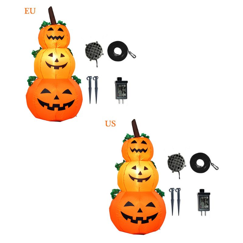 4 Foot Halloween Inflatable 3 Pumpkin Lanterns Yard Art Decoration(EU)