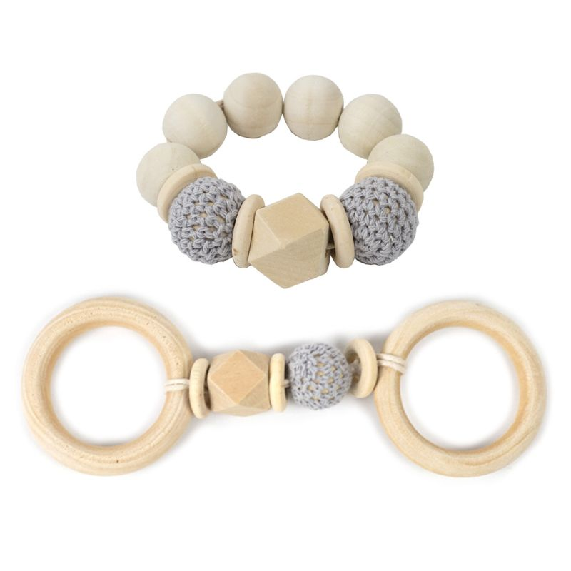 2 Pcs/set Wooden Beaded Baby Teether Toys Kids Play Gym Wood Bracelet Pendant 634F