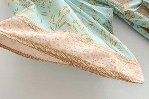 Image 4 - Đầm sang trọng nữ xanh in hoa tay cánh dơi Rayon bãi biển Bohemia Áo choàng kimono Nữ cổ V tất Boho Đầm vestidos