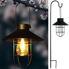 Solar Lanterns Outdoor Hanging Waterproof Metal LED Solar Powered Tungsten Bulb Lights with Hook for Garden Pathway Yard Backyar