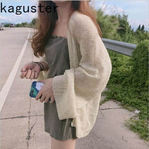 Kaguster Knitted Cardigan Coat Sweter Korean-Top Loose Plus-Size Hollow